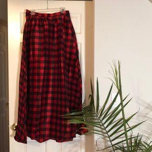 Plaid full length skirt